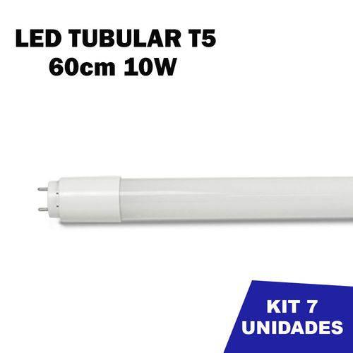 Kit 7 Lâmpada Tubular Led T5 Bivolt 60cm Branco Frio 6000k 10w