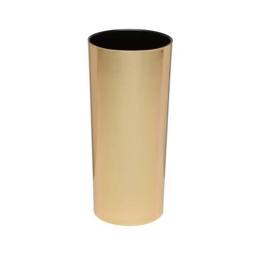 KIT 75 Copos Long Drink Metalizado Dourado e Interior Preto