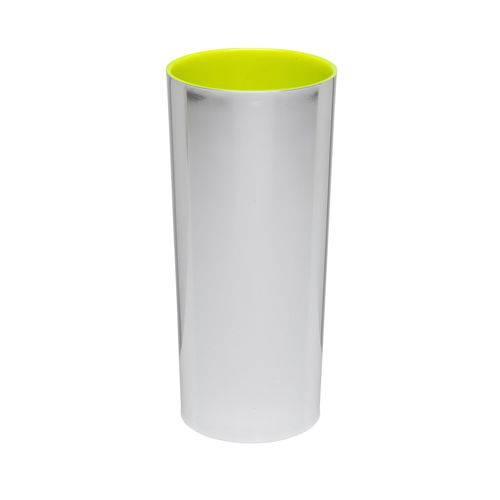 KIT 75 Copos Long Drink Metalizado Prata com Amarelo