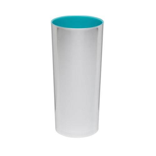 KIT 75 Copos Long Drink Metalizado Prata com Azul Tiffany