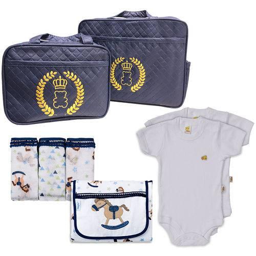 Kit 8 Bolsa Maternidade Enxoval de Bebê Antialérgico 100% Algodão 150 Fios Cavalinho Brilha no Escuro
