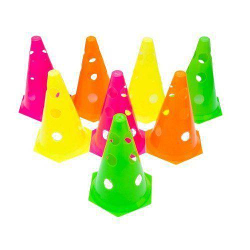 Kit 8 Cones Plástico 24 Cm Treinamento Funcional Furado