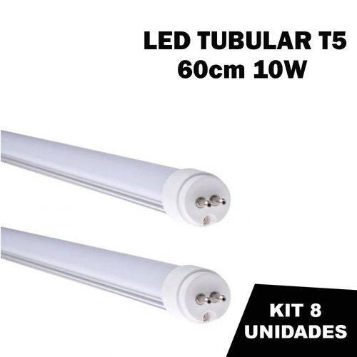 Kit 8 Lâmpada Tubular Led T5 Bivolt 60cm Branco Frio 6000k 10w