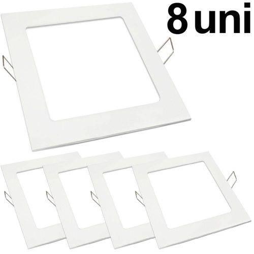 Kit 8 Luminária Plafon Led 25w Embutir Quadrado Branco Frio
