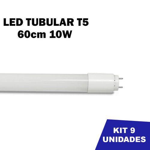 Kit 9 Lâmpada Tubular Led T5 Bivolt 60cm Branco Frio 6000k 10w