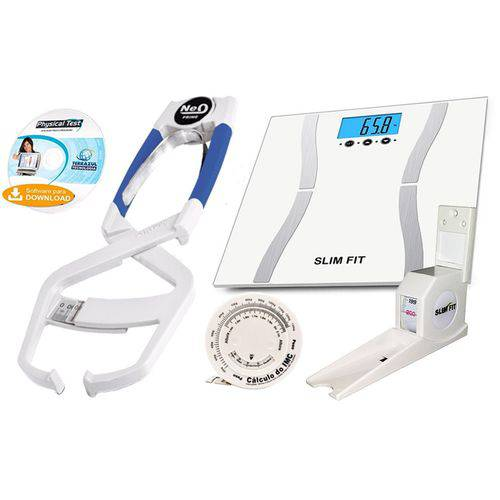 Kit Adipômetro Clínico Prime Med + Balança + Estadiômetro com Trena e Software Avaliação Física