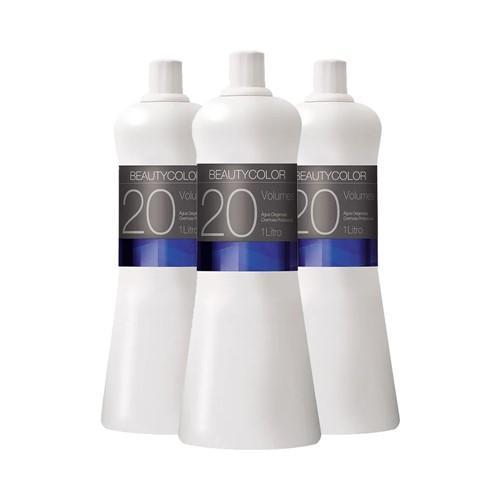 Kit 3 Água Oxigenada Cremosa Beauty Color 20 Volumes 1000ml