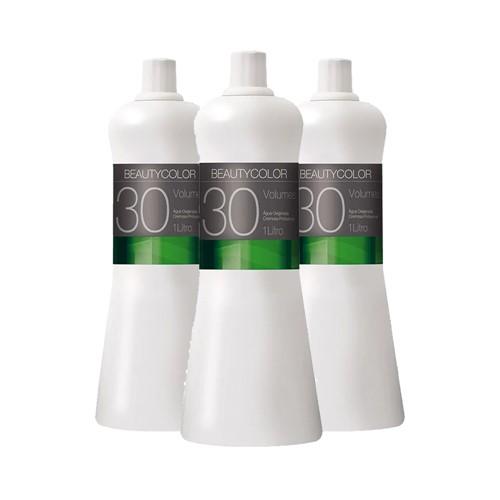 Kit 3 Água Oxigenada Cremosa Beauty Color 30 Volumes 1000ml
