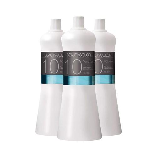 Kit 3 Água Oxigenada Cremosa Beauty Color 10 Volumes 1000ml