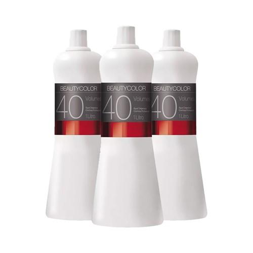 Kit 3 Água Oxigenada Cremosa Beauty Color 40 Volumes 1000ml