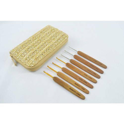 Kit Agulhas Crochê Bambu C/ Estojo - Circulo