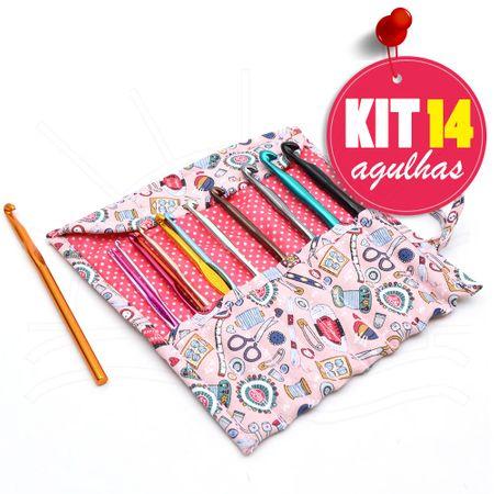 Kit Agulhas para Crochê Alumínio: 14 Agulhas + Porta Agulhas Laço