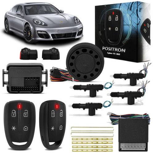 Kit Alarme para Carro Pósitron Cyber Fx360 Universal + Trava Elétrica 4 Portas Dupla Serventia