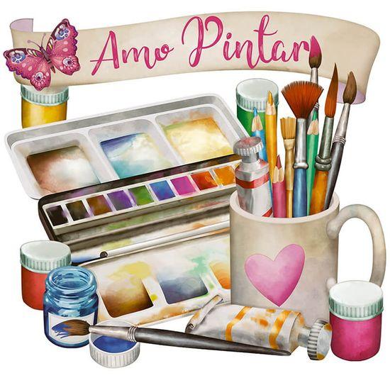 Kit Arte Holandesa Litoarte 21,5x20 AHR-003 Amo Pintar