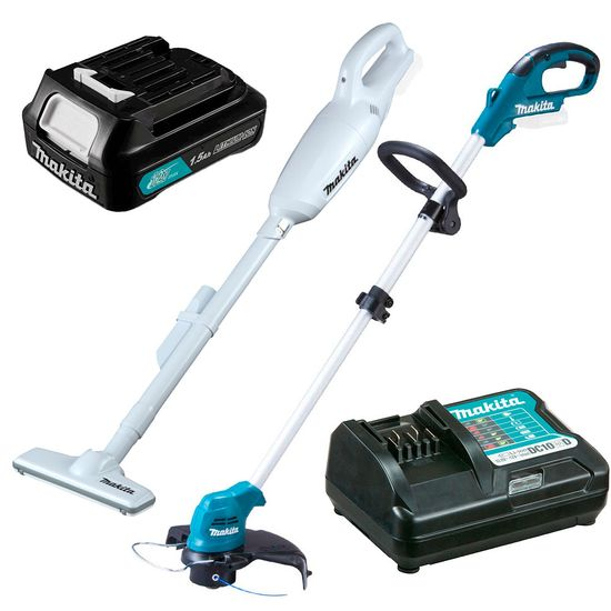 Kit Aspirador Pó CL106FDZW +Aparador de Grama UR100DZX+Bateria+Carregador Makita