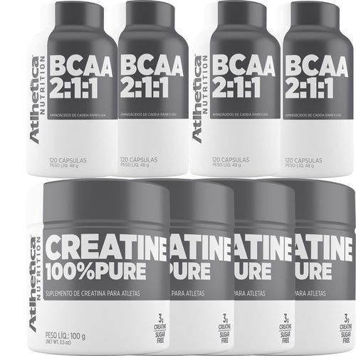 Kit Atacado 4x Creatina 100% Pure + Bcaa 2:1:1 - Atlhetica