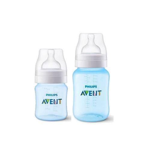 Kit Avent Classic+ 2 Mamadeiras 125ml e 260ml Azul