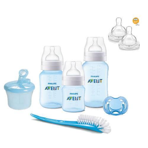 Kit Avent Classic+ 3 Mamadeiras Azul Dosador, Chupeta Escova e Bico