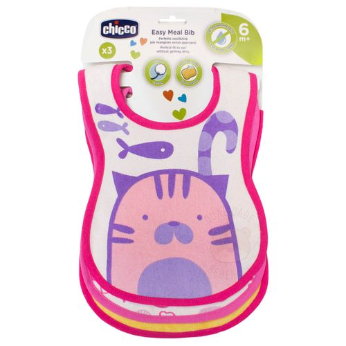 Kit 3 Babadores para Bebê Easy Meal Gatinha (6m+) – Chicco CH5116-A BABADOR EASY MEAL 6m+ 3 Un GATINHA
