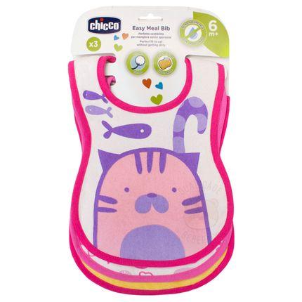 Kit 3 Babadores para Bebê Easy Meal Gatinha (6m+) – Chicco
