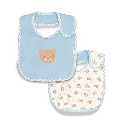 Kit 2 Babadores Redondos Baby Bear - Azul - Hug