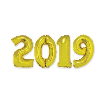 Kit Balão Metalizado 2019 41cm Ouro com Vareta Funny Fashion