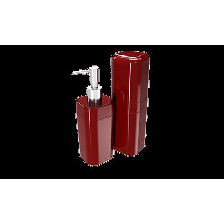 Kit Banho Splash com Tampa - VBO 6,5 X 6,5 X 19,2 Cm / 6,5 X 6,5 X 22,5 Cm Vermelho Bold Coza