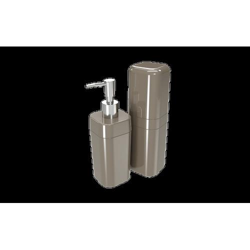 Kit Banho Splash com Tampa - WGR 6,5 X 6,5 X 19,2 Cm / 6,5 X 6,5 X 22,5 Cm Warm Gray Coza