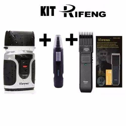 Kit Barbeador Aparador de Pêlos Máquina Corte Rifeng Orignal