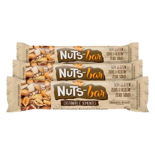 Kit Barra Nuts Bar Castanhas e Sementes 25g 3 Unidades