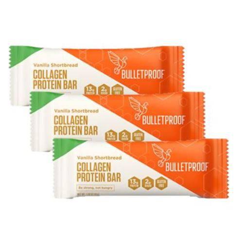 Kit 3 Barras de Proteína de Colágeno Grass Fed Vanilla (45g Un) Bulletproof