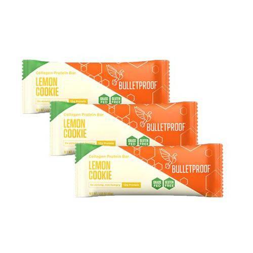 Kit 3 Barras de Proteína de Colágeno Grass Feed Lemon Cookie (45g Un) Bulletproof