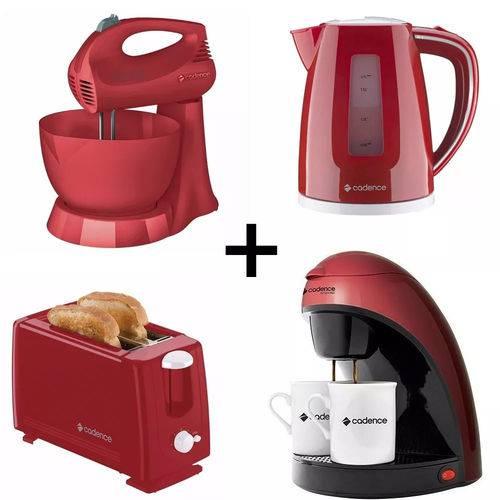 Kit Batedeira+torradeira+cafeteira+chaleira Elétrica Vermelho 127v