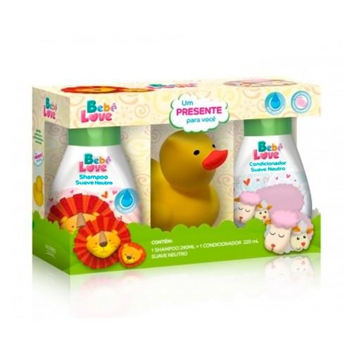 Kit Bebê Love Suave Neutro Shampoo 240ml + Condicionador 220ml + Bichinho de Presente Cores Sortidas
