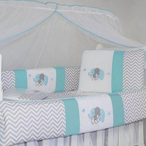 Kit Berço Chevron Elefante Azul Tiffany 100% Algodão