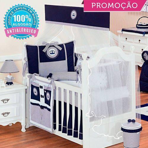 Kit Berço Real Marinho 09 Peças