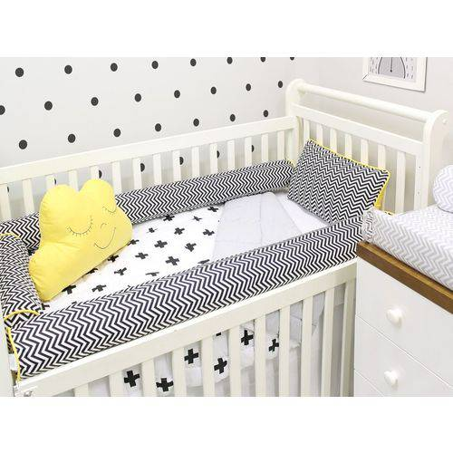 Kit Berço Rolinhos 05 Peças Baby Chevron Preto e Amarelo