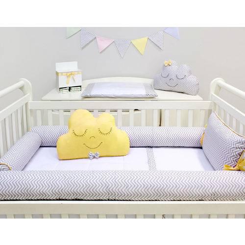 Kit Berço Rolinhos 09 Peças Baby Chevron Cinza e Amarelo