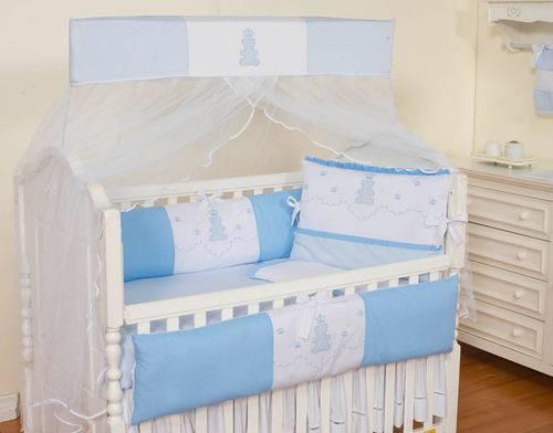 Kit Berço Ursinho Realeza Azul Bebê