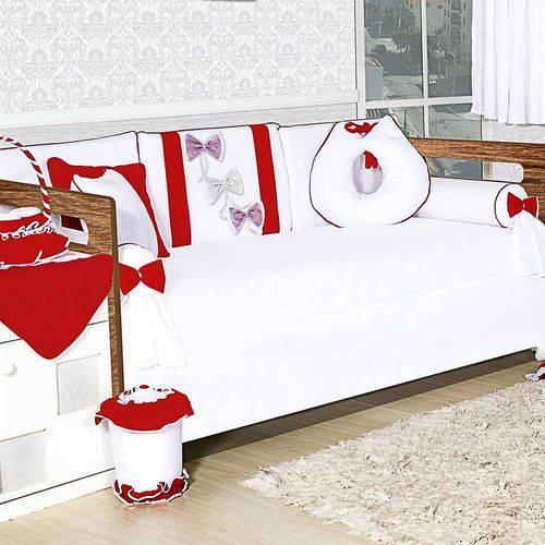 Kit Bicama Laços Vermelhos 8 Peças