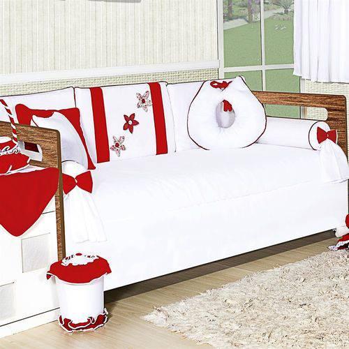 Kit Bicama Margarida Vermelha 8 Peças