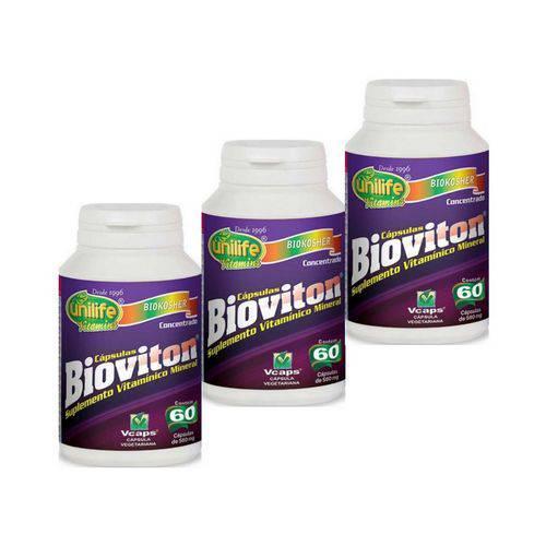 Kit 3 Bioviton Suplemento de Vitaminas e Minerais Unilife 60 Caps