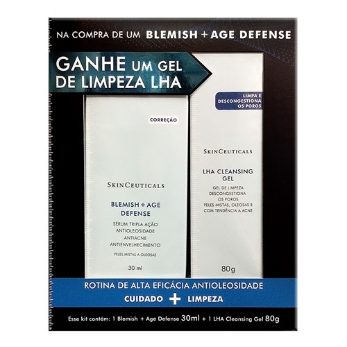 Kit Blemish + Age Defense SkinCeuticals Serum 30ml Ganhe 1 LHA Cleasing Gel de Limpeza 80g