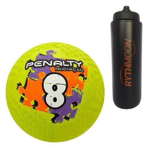 Kit Bola Iniciação de Borracha T08 Penalty Verde + Squeeze Automático 1lt