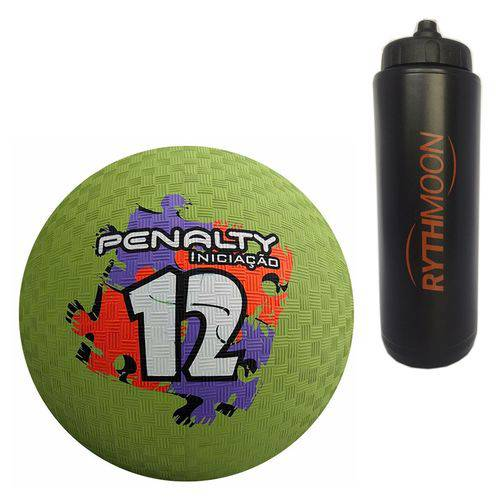Kit Bola Iniciação de Borracha T12 Penalty Verde + Squeeze Automático 1lt