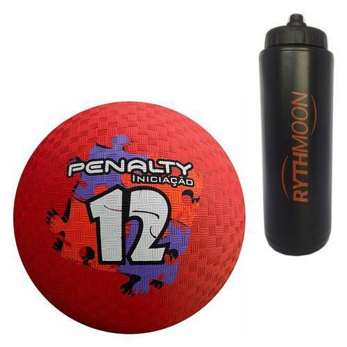 Kit Bola Iniciação de Borracha T12 Penalty Vermelha + Squeeze Automático 1lt