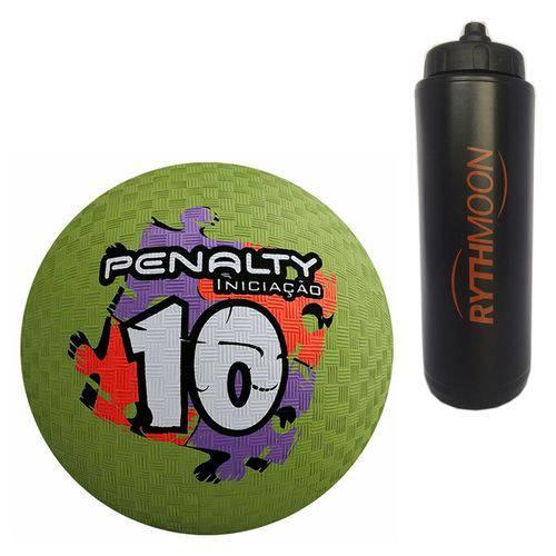 Kit Bola Iniciação de Borracha T10 Penalty Verde + Squeeze Automático 1lt