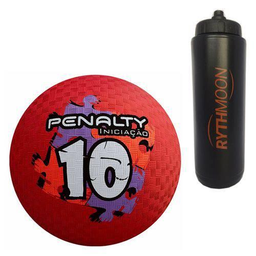 Kit Bola Iniciação de Borracha T10 Penalty Vermelho + Squeeze Automático 1lt