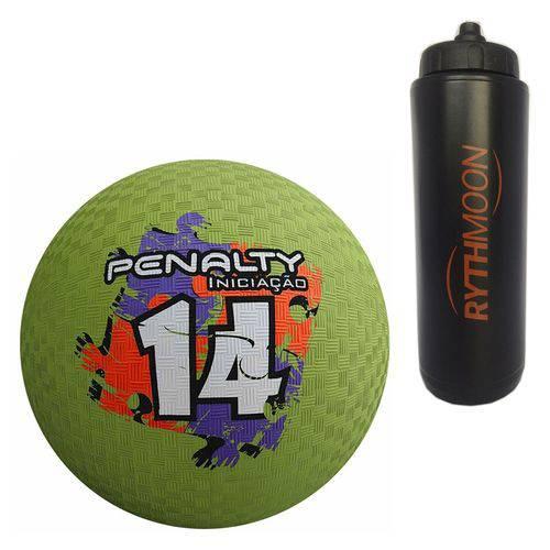 Kit Bola Iniciação de Borracha T14 Penalty Verde + Squeeze Automático 1lt