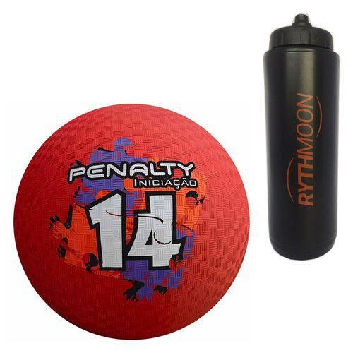 Kit Bola Iniciação de Borracha T14 Penalty Vermelha + Squeeze Automático 1lt